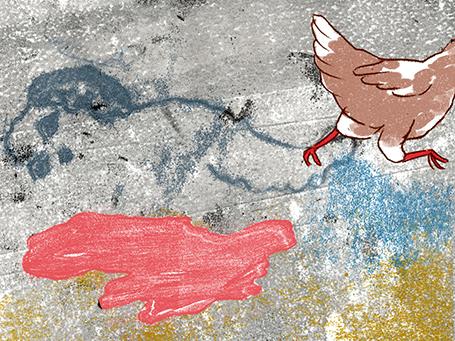 Illustration mit Huhn für Geruch der Diktatur © Arinda Crăciun