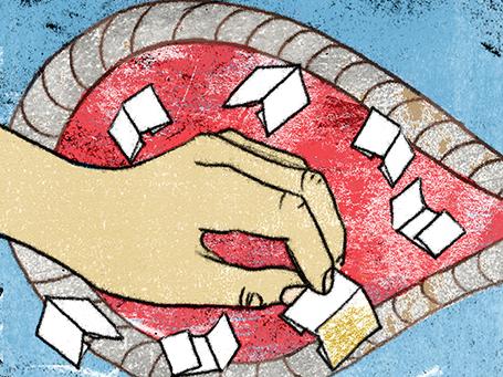 Illustration mit Hand und Losen für Geruch der Diktatur © Arinda Crăciun