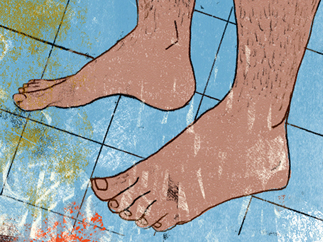 Illustration mit Füssen für Geruch der Diktatur © Arinda Crăciun